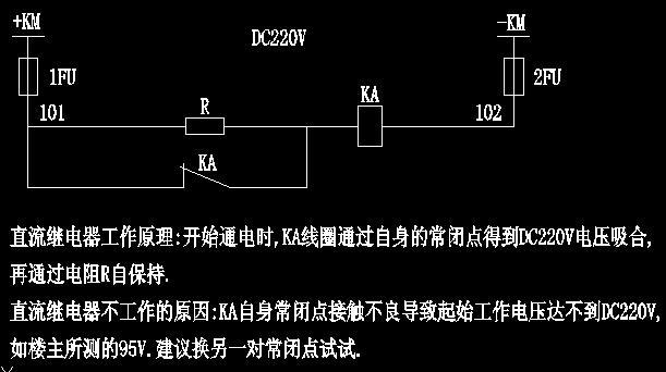 大家看看这张图就知道了。 直流继电器工作原理:开始通电时,KA线圈通过自身的常闭点得到DC220V电压吸合,再通过电阻R自保持。直流继电器不工作的原因:KA自身常闭点接触不良导致起始工作电压达不到DC220V,如楼主所测的95V,继电器当然就不动作了。(因为串接的电阻R降压作用,这说明电阻应该是好的),建议换另一对常闭点试试。再不行就只好换继电器了,可能是继电器电气特性变坏了。