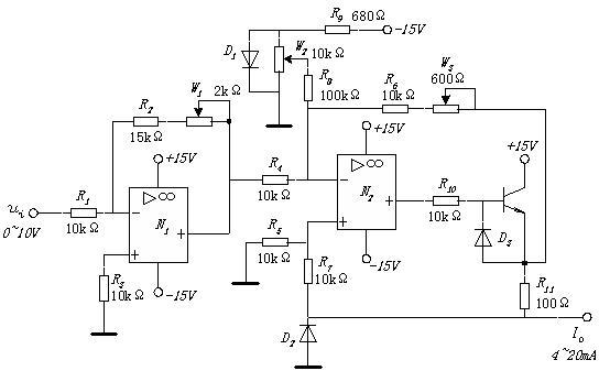 简要说明: 为提高抗干扰能力,模拟信号经常采用4~20mA电流信号进行远距离传输。本电路的功能是将0~10V的输入电压信号ui转换成4~20mA的电流信号Io供长距离传输用。 思考题: 1.电路中电位器W1、W2和W3的作用各是什么?怎样相互配合调整才能使输出范围为4~20mA。 2.图中第2级放大器的增益应如何计算? 此主题相关图片如下,点击图片看大图:  回答: 1首先说明,按照你提供的参数是不能正常工作的! 2 N1在输入10V时会反相饱和导通。原因是你在抄袭电路时,将R2,W1的阻值搞错了。 3